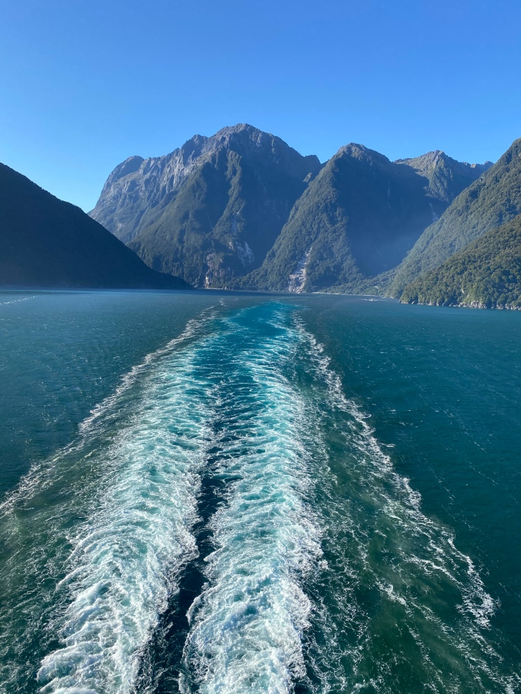 Sailing out of Milford Sound