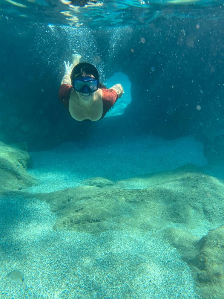Coming through the swim hole at Ammoudi