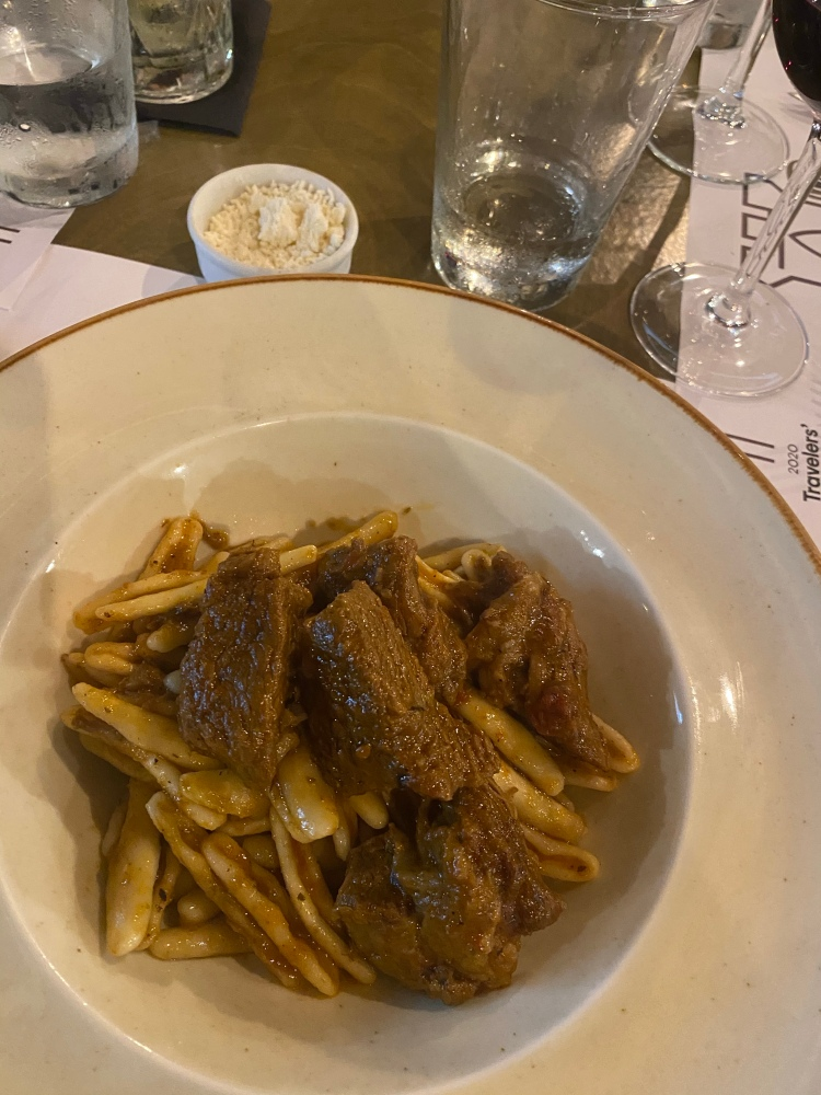 The homemade pasta and beef at Kastro